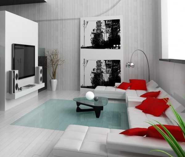 Cojines minimalistas para la sala chalets de lujo for Casa minimalista rojo